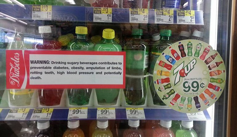 Soda In Retail Store With A Label Disclaimer